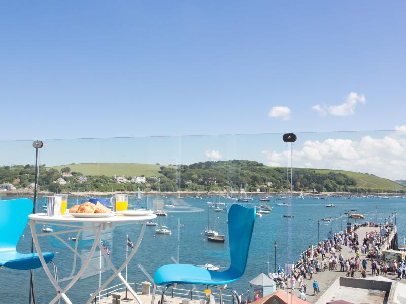 The views from the main balcony across Falmouth bay and out to sea are amazing!