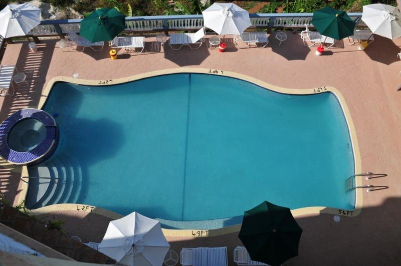 aerial view of pool and outside jacuzzi