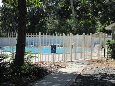 Gated entrance to pool