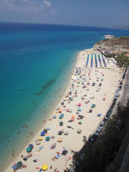 The beach at Tropea, photographed from the town
