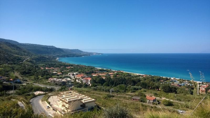 Marina di Zambrone from the hillside above, with apt complex in the foreground