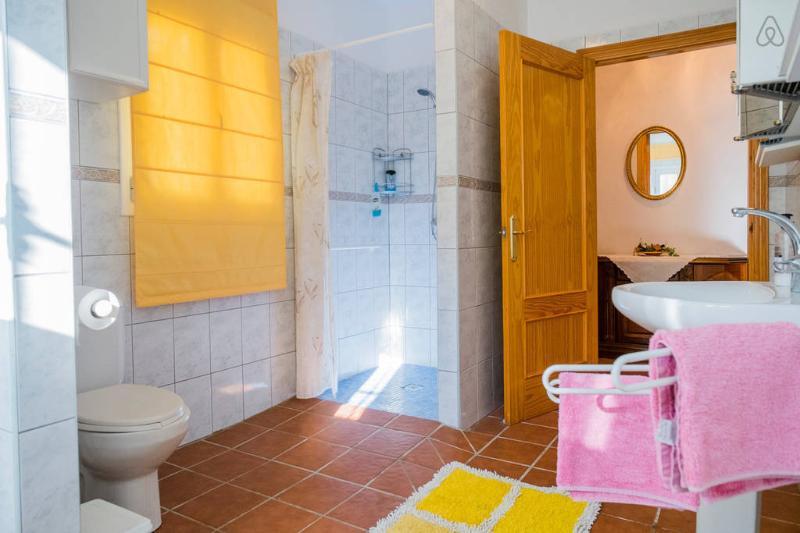 El baño, con inodoro, plato de ducha, lavabo y lavadora