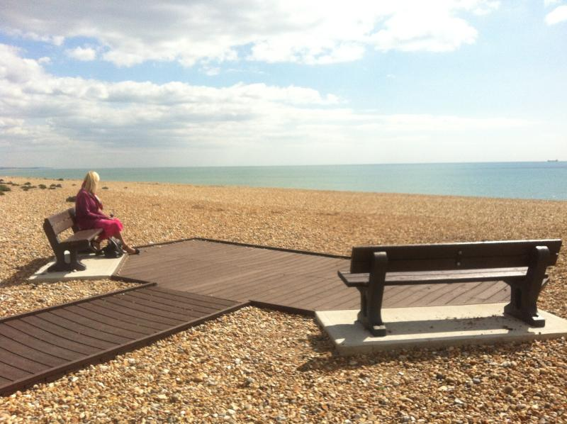 User friendly beach path travels along shoreham coast line. Pram, Pet and disabled friendly