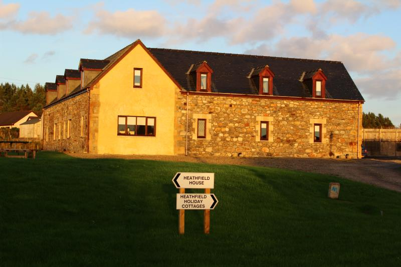 The cottages in the evening sunlight
