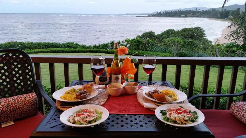 A birthday dinner on  the lanai...contributed by one of our guest, D&S Gold