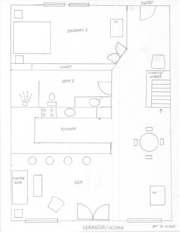 Condo A6: Rough sketch of lower level
