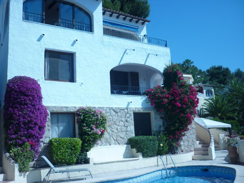 Villa showing the 3 apartments.  C is the middle one with superb sea and pool views