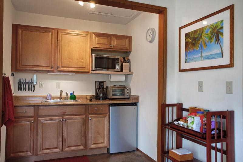 Kitchenette includes toaster oven, microwave, coffee maker and rice cooker.