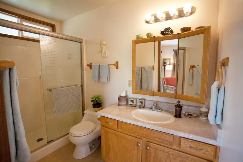 Newly remodeled bathroom; fresh and clean.