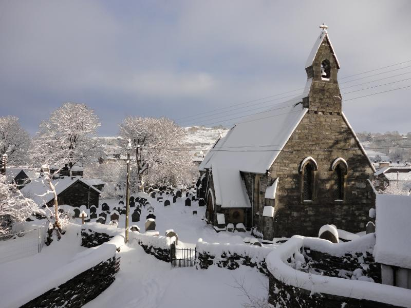 Penmachno church, snow scene