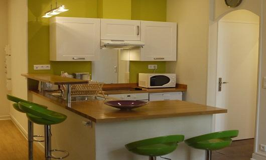 open modern kitchen: ceramic plates, microwave as well as traditional oven, coffee maker, kettle