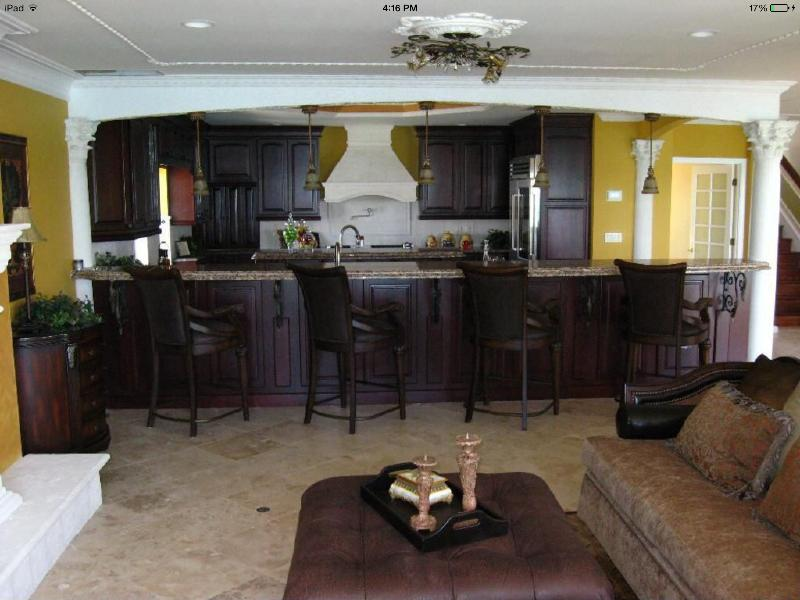 Second floor living area with fireplace Gulf views and full bar