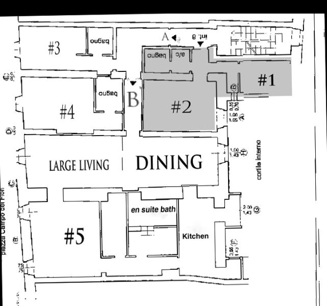 Flat plane with doors A or B depending if bedroom # 3 belong to SMALL UNIT (colored) or to XLARGE Unit