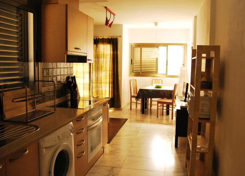 luminous living and kitchen