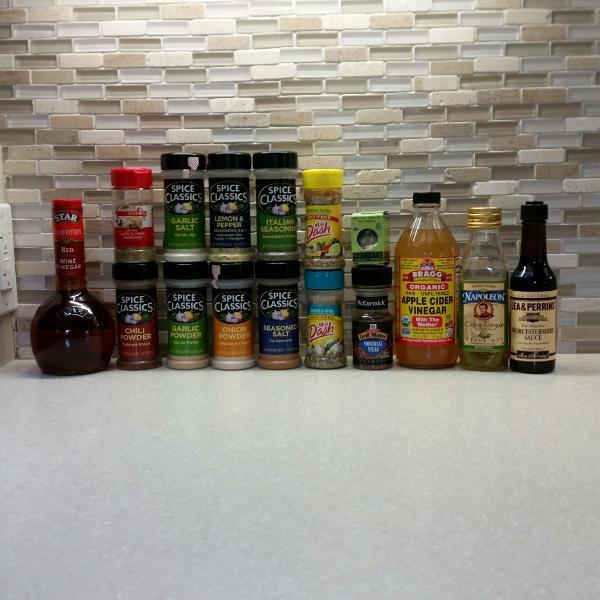 Generosa variedad de condimentos