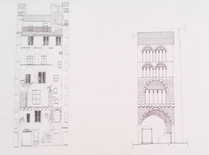 The facade today and a reconstruction of its original appearance in 1200