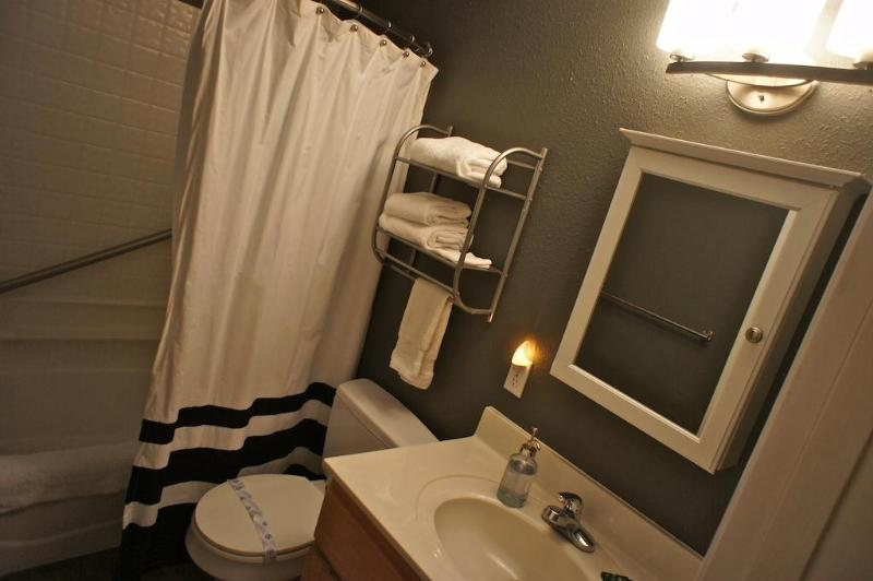 One of two full bathrooms in the condo