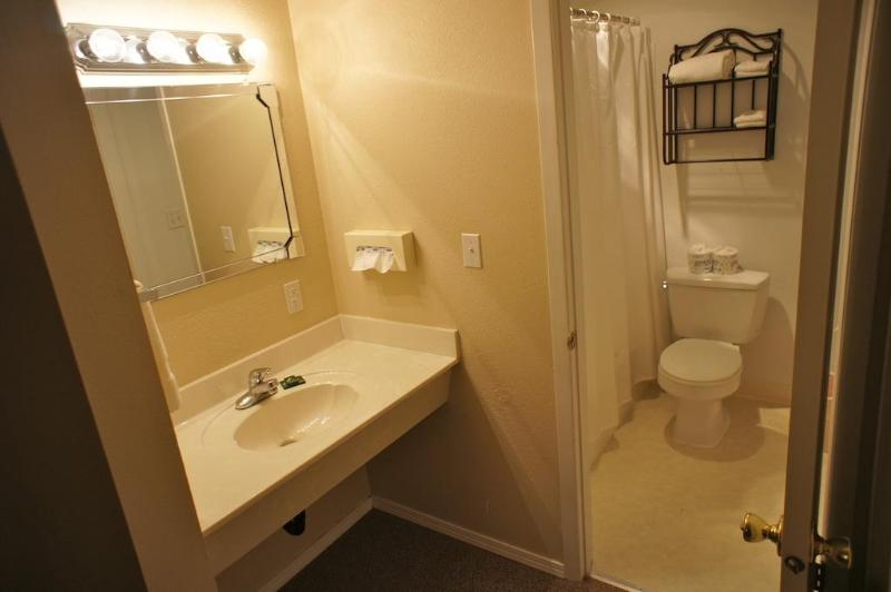 The second bathroom is attached to the bedroom