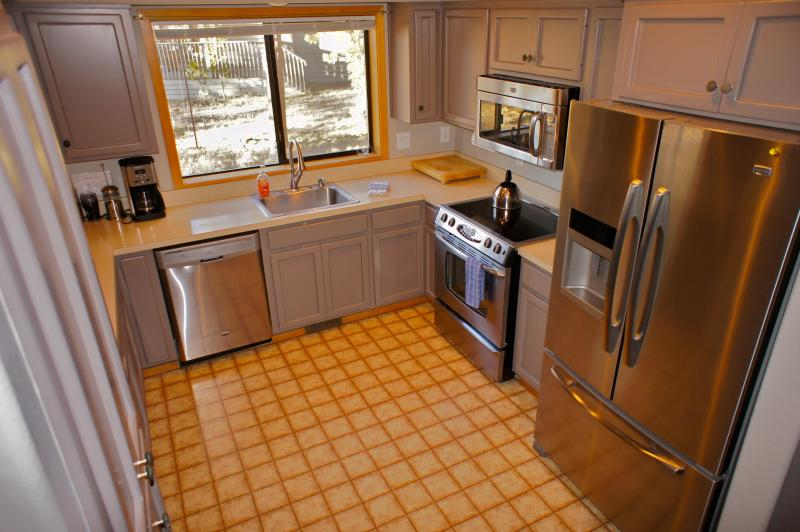 Our kitchen has new stainless steel appliances