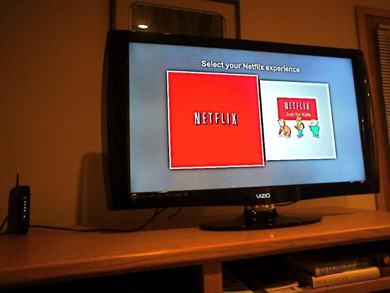 We have Rokus and an Apple TV so you can stream your own Netflix