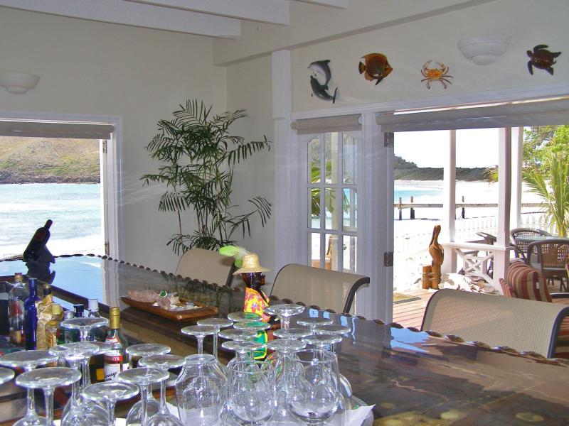 Ocean Song private beach front lounge with honour bar.