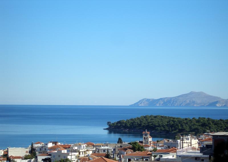 Balcony view with Hydra island in the horizon