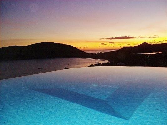 Sunset from infinity edge pool, Ocean Song Villa.