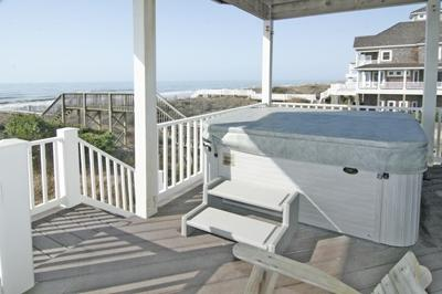 Hot tub on lower oceanfront deck