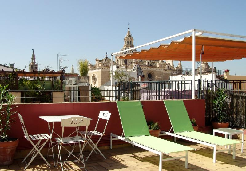 private roof terrace with sunlounchers
