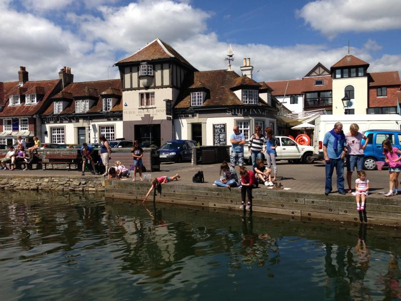 Crabbing on the quay at Lymington.