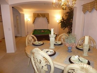 dining table and pool table