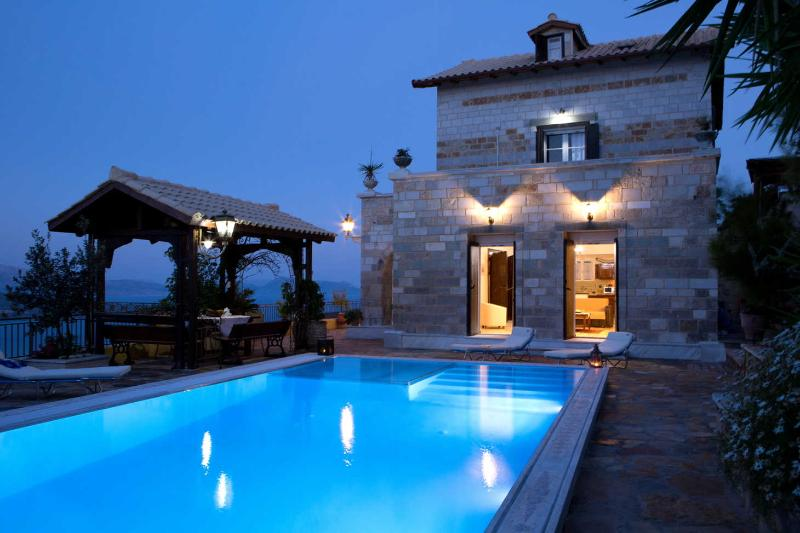 View of  the luxury stone-made villa Senecio from the swimming pool!