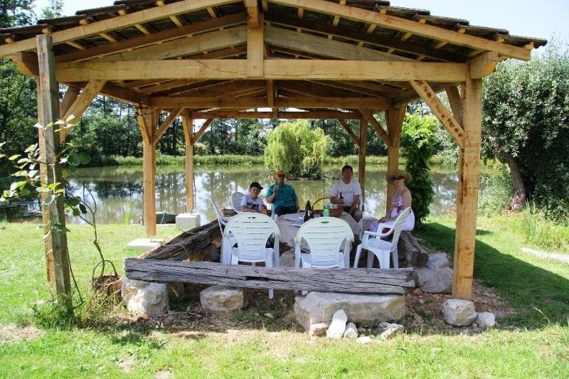 Pergola by the pond