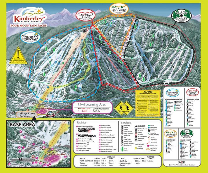 Trail Map of Kimberley Alpine Ski Hill