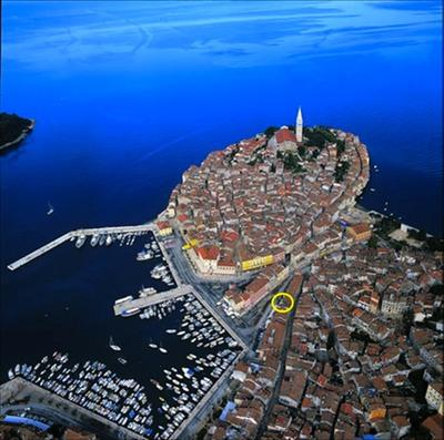 Rovinj from the air, showing the location of the apartment.