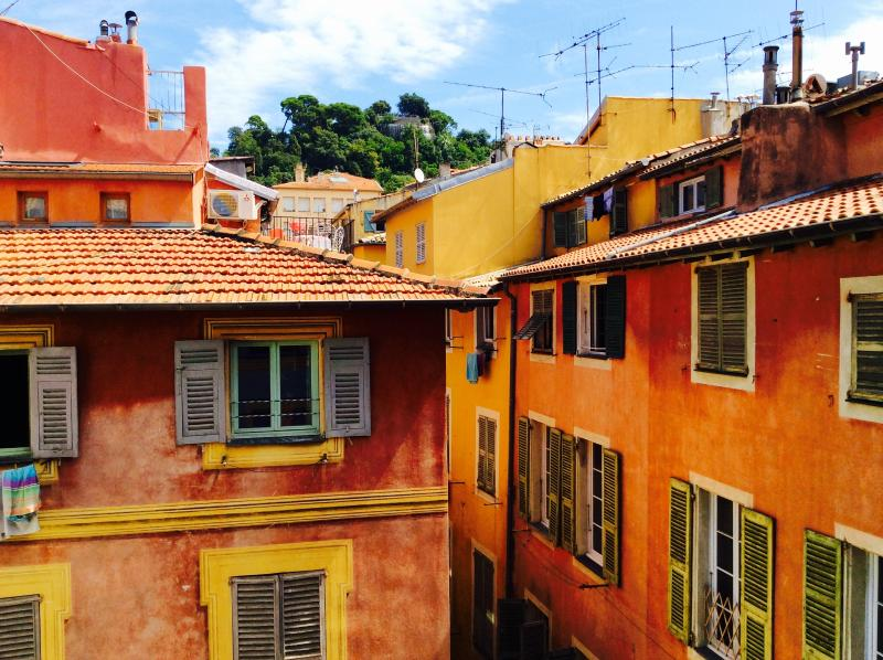 View from the living room window - the pretty colourful houses of the old town