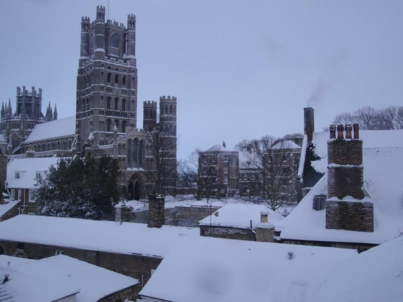 Ely Cathedral in the snow