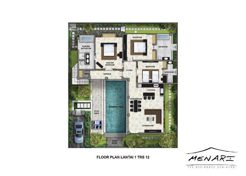 Villa Menari, Seminyak, Ground Floor Building Plan.