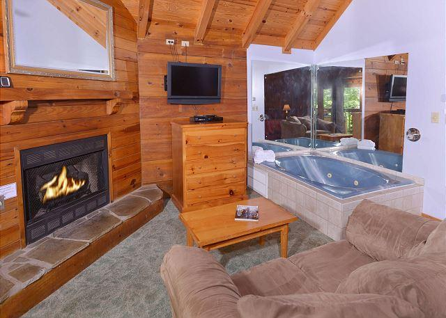 Foxy Lady #1531- Living Room with Fireplace, Jacuzzi Tub, & Flat