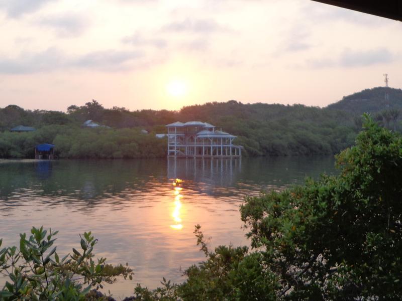 Sunrise across Mangrove Bight from ocean porch