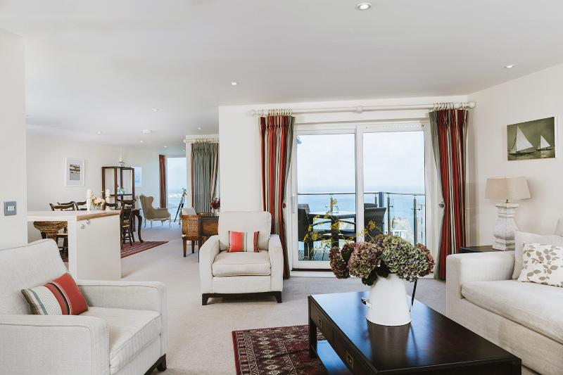 Amazing sea views from the open plan living, dining and kitchen area leading to your private balcony
