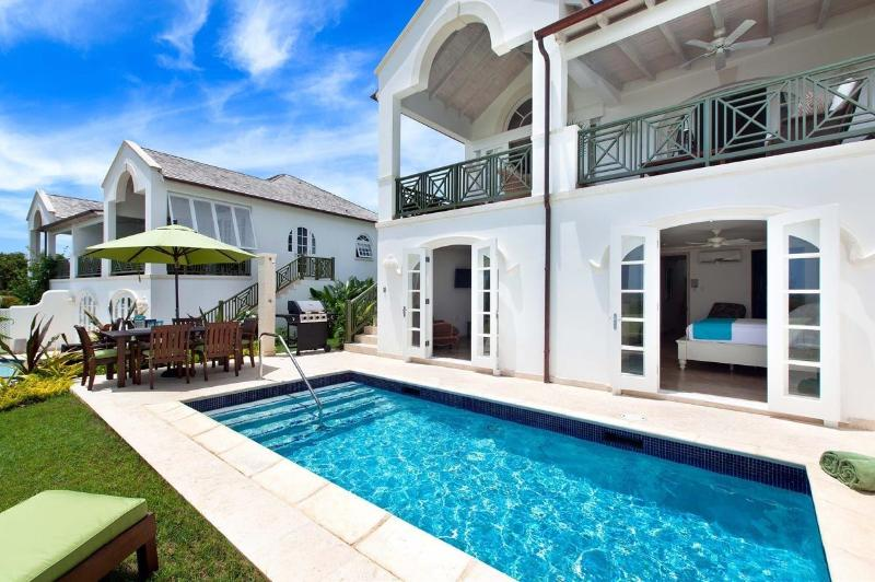 Lovely private swimming pool with Caribbean sea views