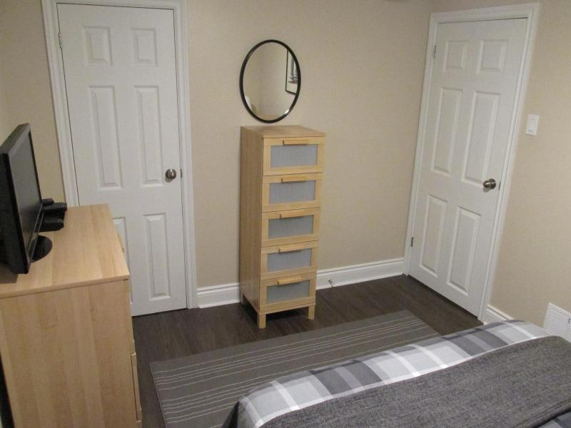 Bedroom closet has additional linens and blankets
