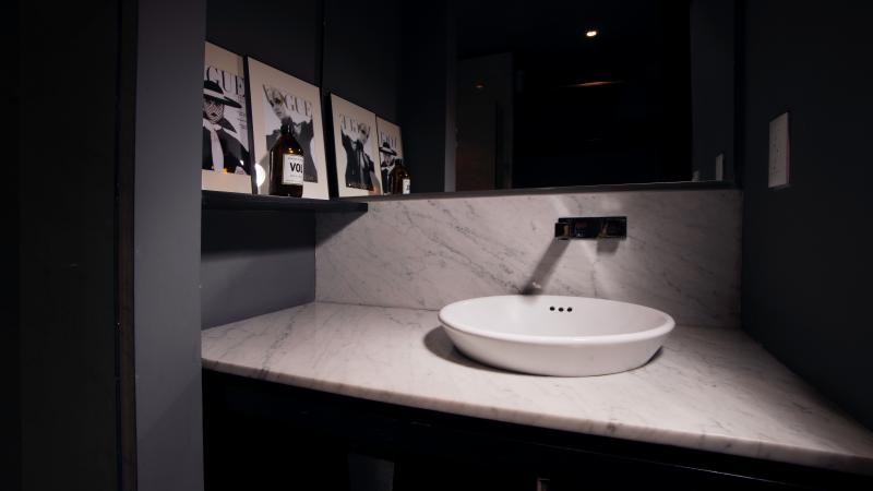 Marble counters in the master's bathroom