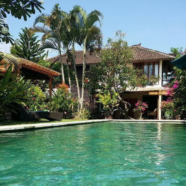 jardín tropical con piscina grande