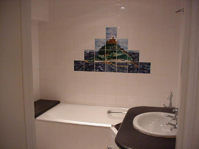 Bathroom with original hand painted tiles