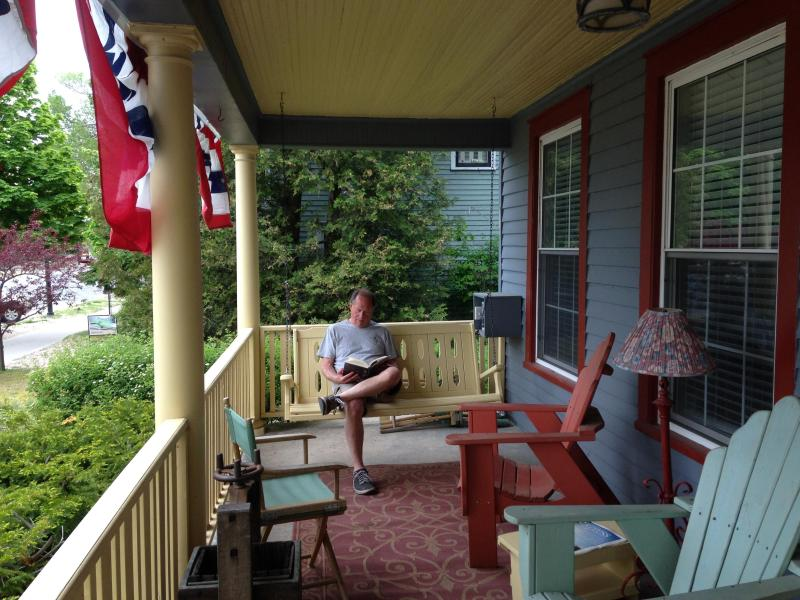 The inn's big front porch provides for a great read.