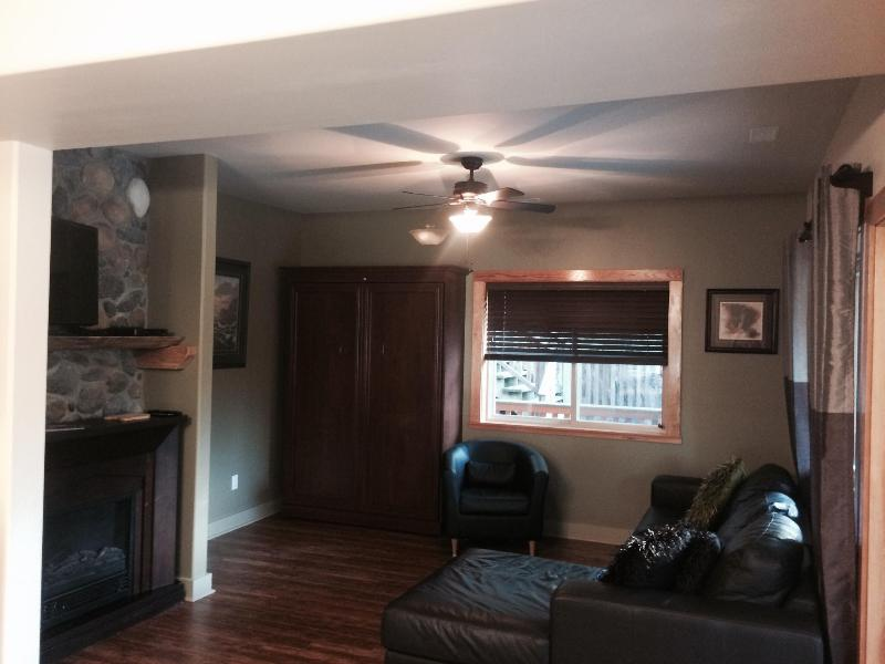 Living room with double murphy bed, 40' flat screen TV, free WiFi