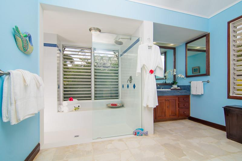The dressing room leads to the newly-renovated master bath and large walk-in shower with double shower heads.