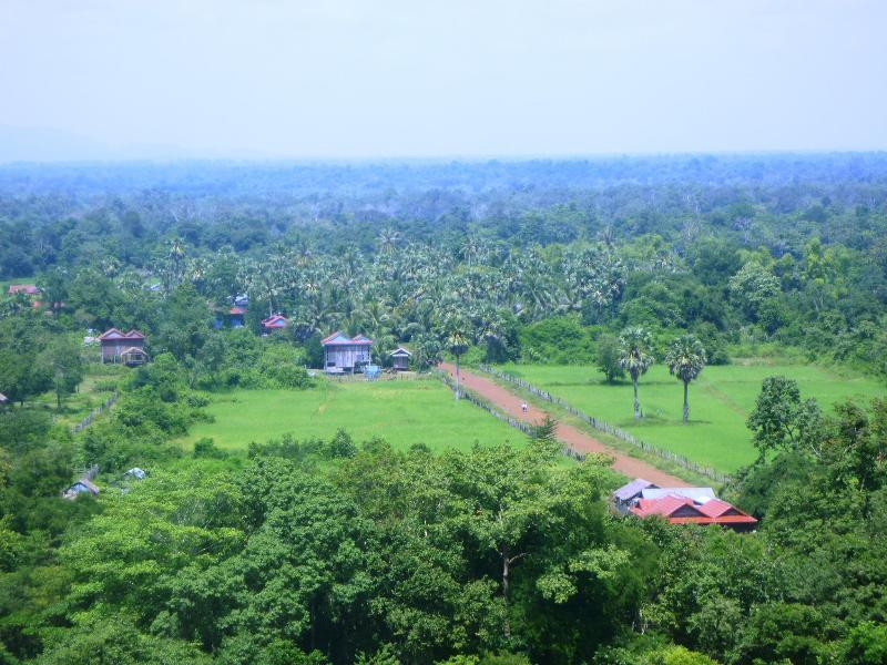 View from Prasat Thom of Koh Ker Village . Tthe lodge in middle  left with  blue slightly visible.